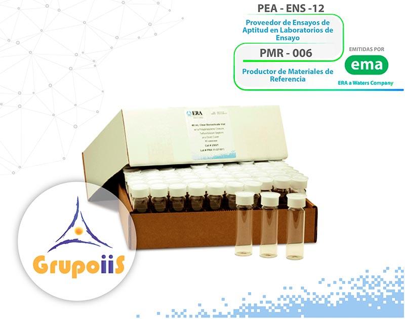 Viales certificados de bajo aporte TOC <10ppb, viales acreditados ante la ema, caja con 80 frascos